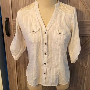 Maurice's Button Down Top with Lace inlay